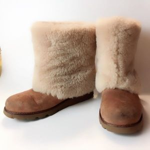 UGG Maylin Shearling Fur Chestnut Ankle Boots
